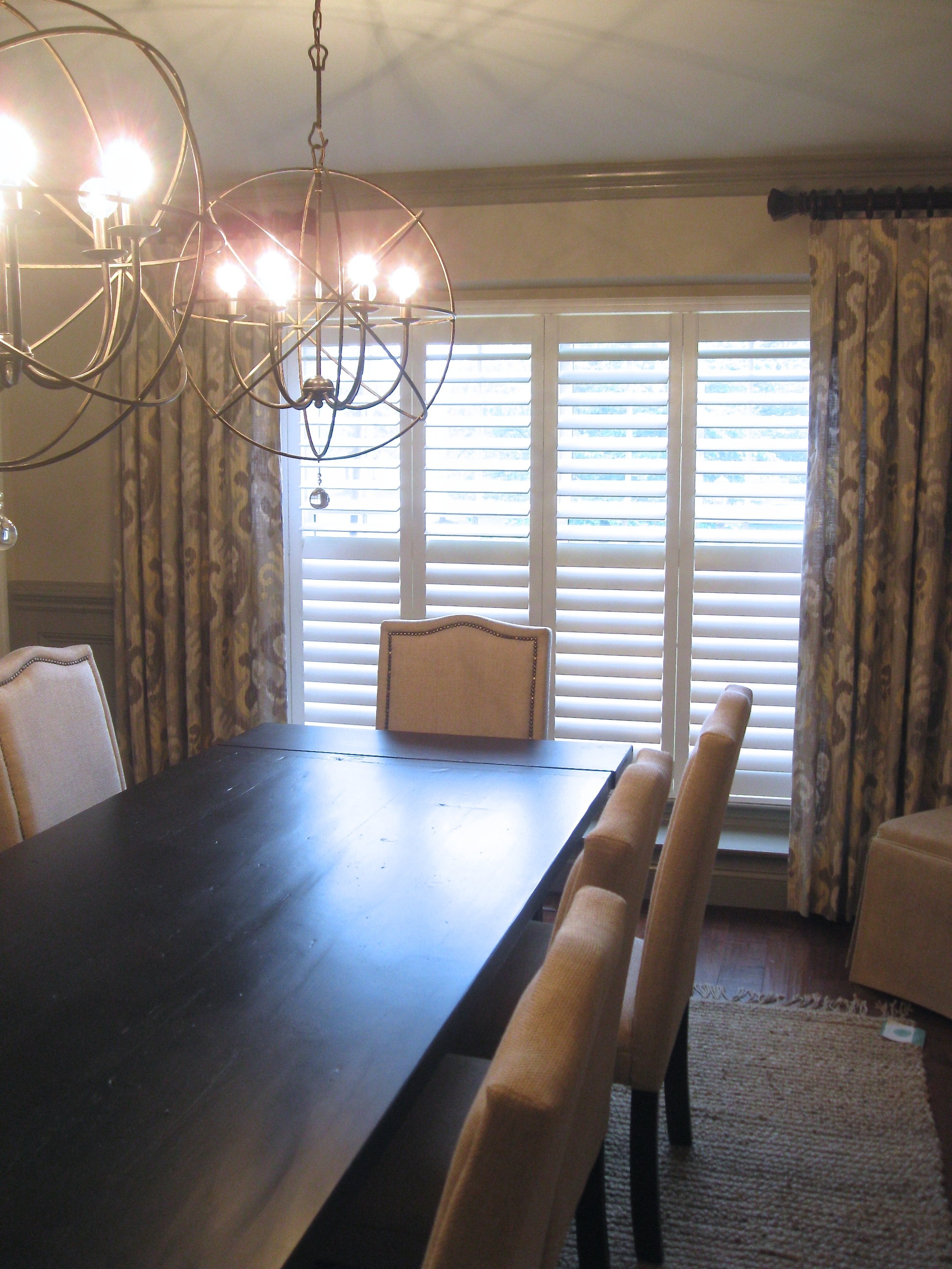 Custom Drapes With Plantation Shutters
